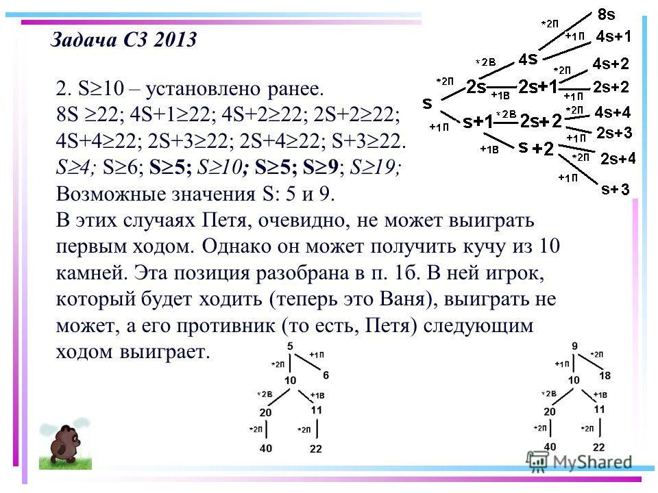 Задача С3 2013 2. S 10 – установлено ранее. 8S 22; 4S+1 22; 4S+2 22; 2S+2 22; 4S+4 22; 2S+3 22; 2S+4 22; S+3 22. S 4; S 6; S 5; S 10; S 5; S 9; S 19; Возможные значения S: 5 и 9. В этих случаях Петя, очевидно, не может выиграть первым ходом. Однако о
