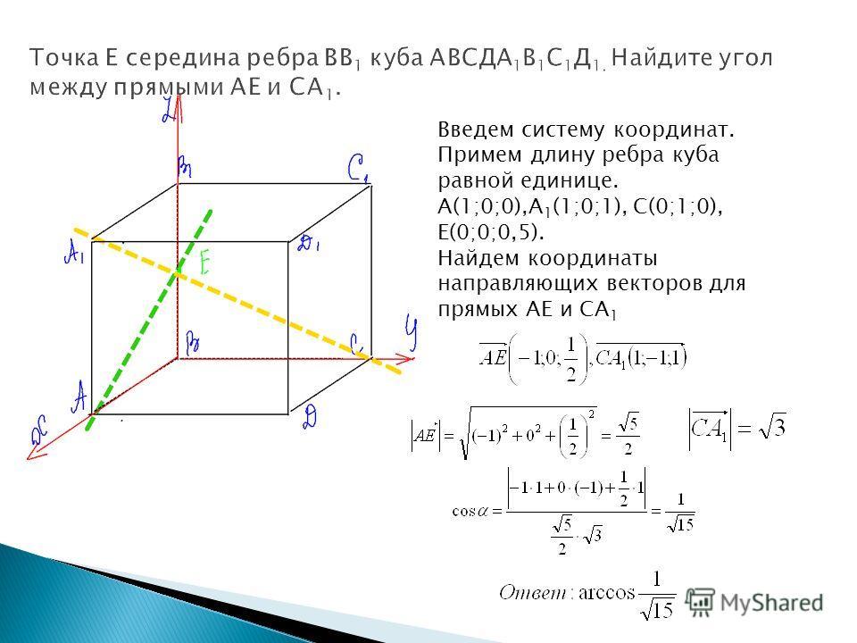 Введем систему координат. Примем длину ребра куба равной единице. А(1;0;0),А 1 (1;0;1), С(0;1;0), Е(0;0;0,5). Найдем координаты направляющих векторов для прямых АЕ и СА 1