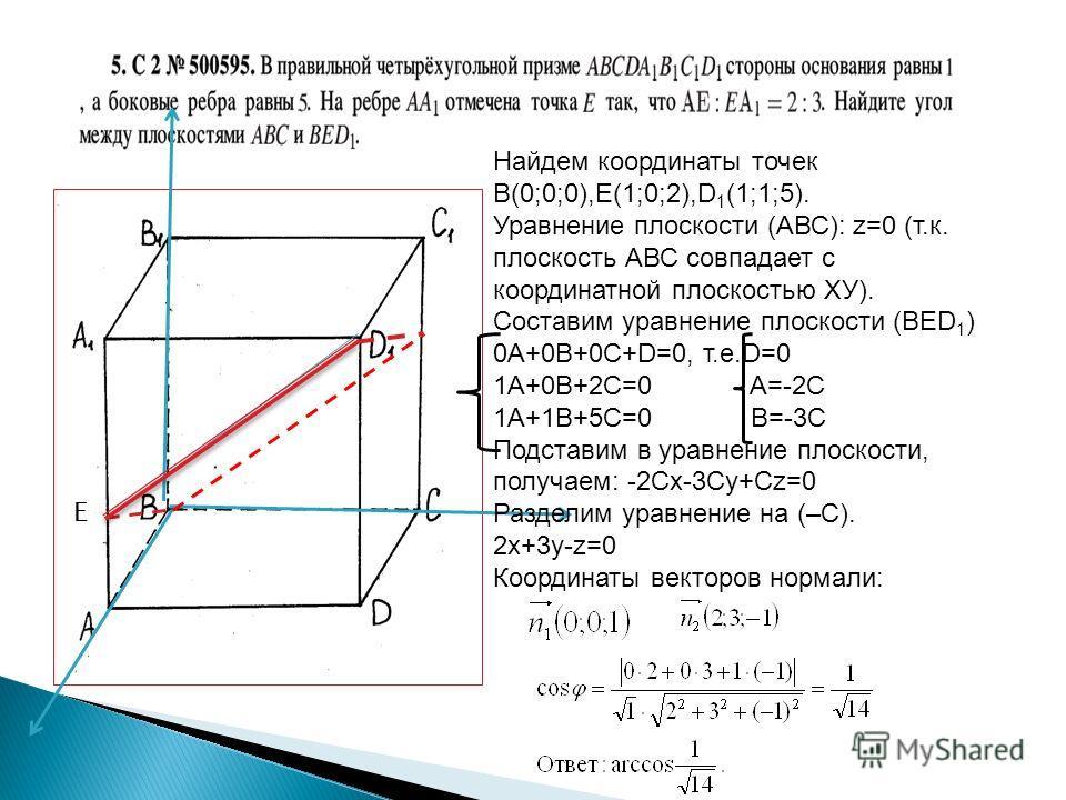 Е Найдем координаты точек В(0;0;0),Е(1;0;2),D 1 (1;1;5). Уравнение плоскости (АВС): z=0 (т.к. плоскость АВС совпадает с координатной плоскостью ХУ). Составим уравнение плоскости (ВЕD 1 ) 0A+0B+0C+D=0, т.е.D=0 1A+0B+2C=0 A=-2C 1A+1B+5C=0 B=-3C Подстав