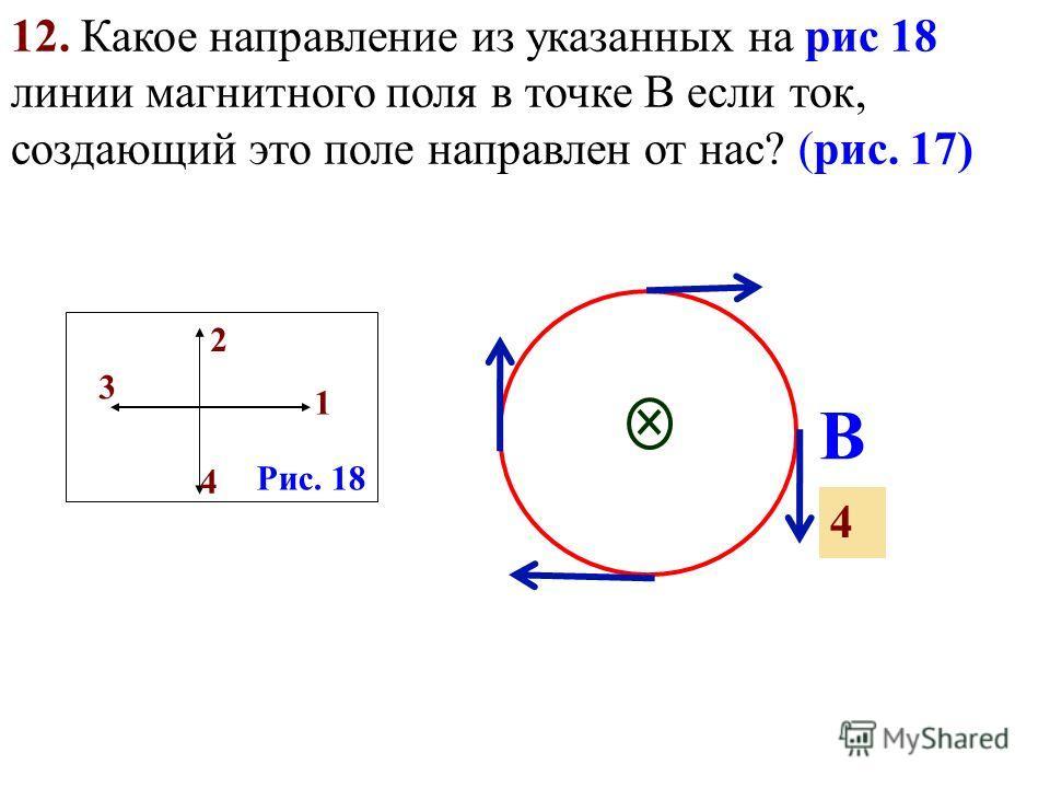 1 4 2 3 Рис. 18 Рис 15 10. Какое направление из указанных на рис 14 имеет ток, текущий по проводнику (синий цилиндр), если магнитные линии имеют направление, указанное на рисунке 15? Рис. 16