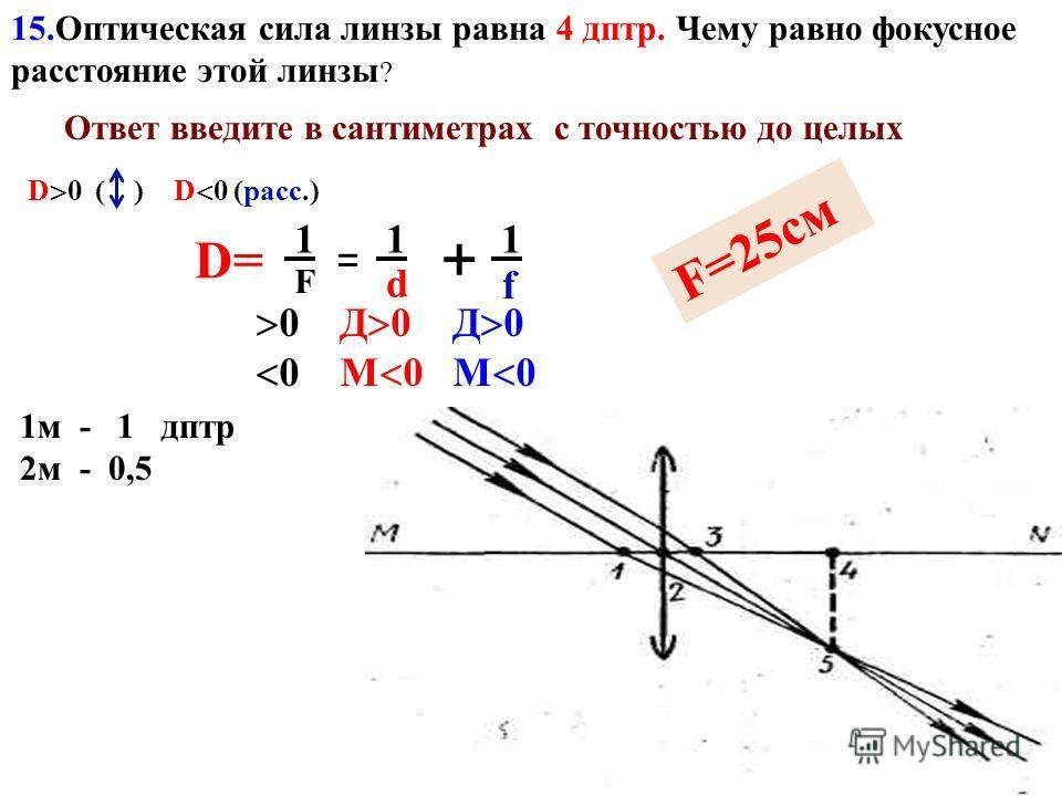 13. С помощью собирающей линзы получили изображение светящейся точки. Чему равно фокусное растояние линзы, если d = 4 м, f = 1 м? Ответ введите в метрах с точностью до десятых. 14. По условию предыдущей задачи определите, чему равно увеличение. Ответ