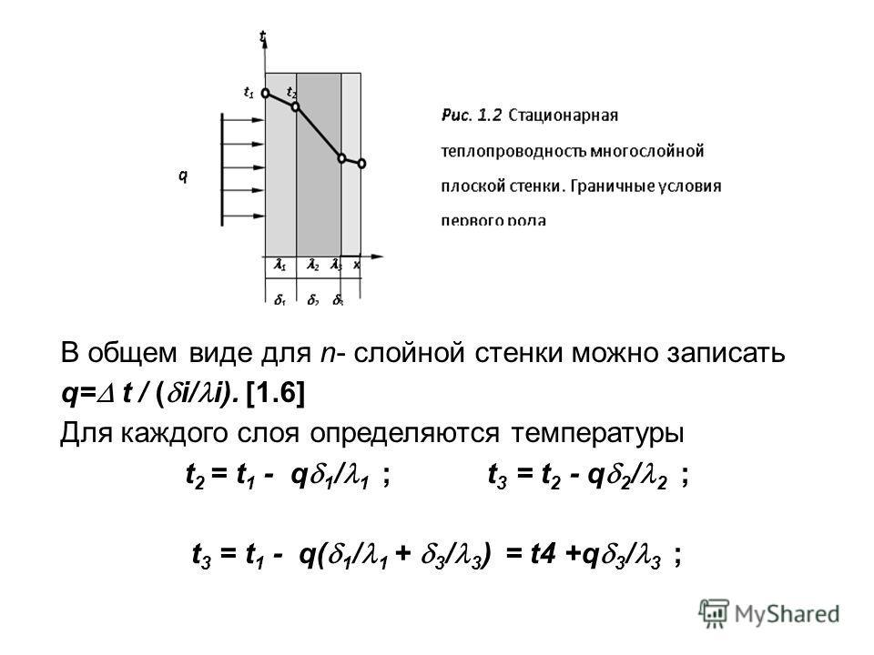 В общем виде для n- слойной стенки можно записать q= t / ( i/ i). [1.6] Для каждого слоя определяются температуры t 2 = t 1 - q 1 / 1 ; t 3 = t 2 - q 2 / 2 ; t 3 = t 1 - q( 1 / 1 + 3 / 3 ) = t4 +q 3 / 3 ;