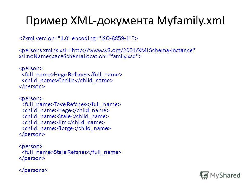 Применр XML-документа Myfamily.xml Hege Refsnes Cecilie Tove Refsnes Hege Stale Jim Borge Stale Refsnes