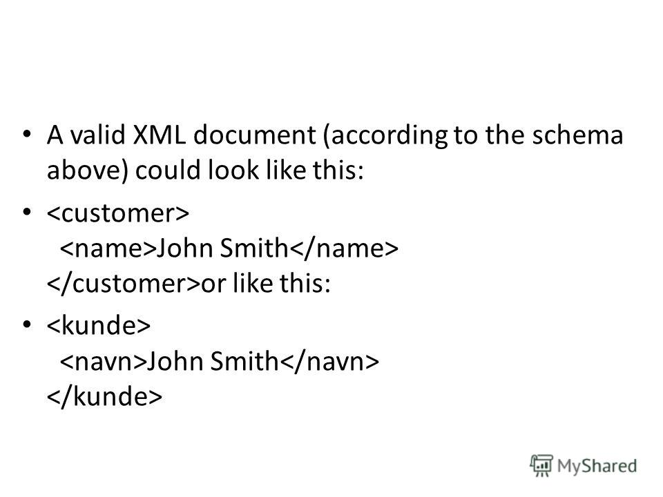A valid XML document (according to the schema above) could look like this: John Smith or like this: John Smith