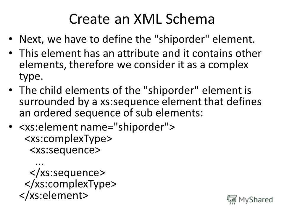 Create an XML Schema Next, we have to define the