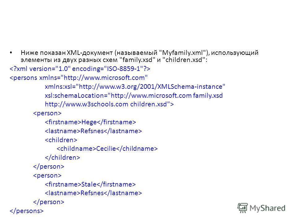 Ниже показан XML-документ (называемый Myfamily.xml), использующий элементы из двух разных схем family.xsd и children.xsd:  Hege Refsnes Cecilie Stale Refsnes