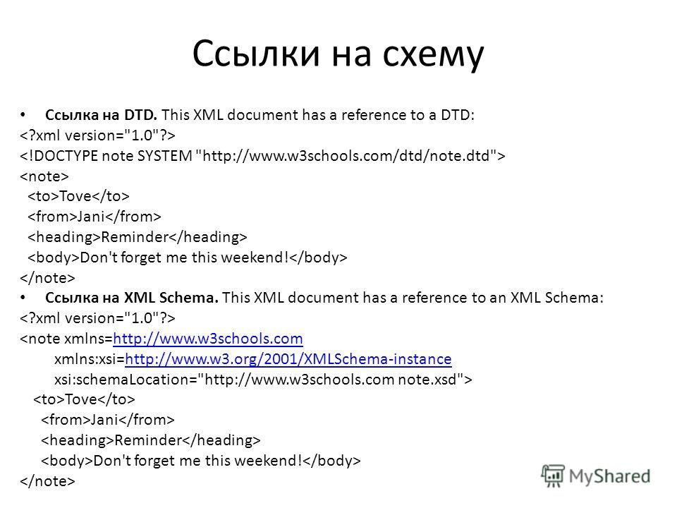 Ссылки на схему Ссылка на DTD. This XML document has a reference to a DTD: Tove Jani Reminder Don't forget me this weekend! Ссылка на XML Schema. This XML document has a reference to an XML Schema:  Tove Jani Reminder Don't forget me this weekend!