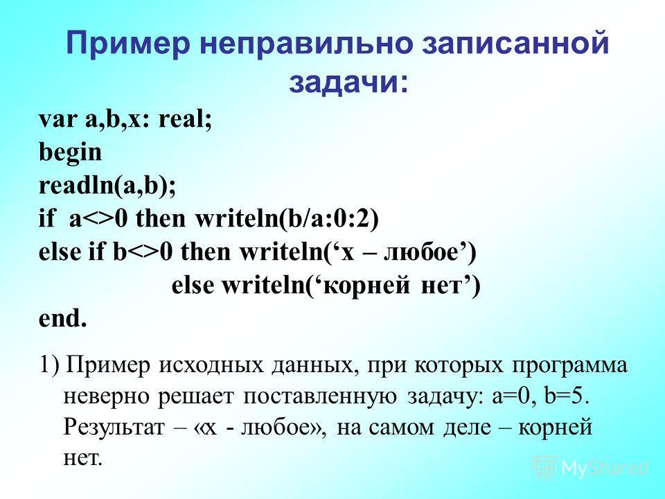 Пример неправильно записанной задачи: var a,b,x: real; begin readln(a,b); if a0 then writeln(b/a:0:2) else if b0 then writeln(x – любое) else writeln(корней нет) end. 1) Пример исходных данных, при которых программа неверно решает поставленную задачу