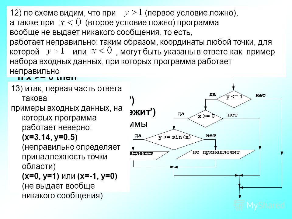 10) судя по записи «лесенкой», else относится к самому первому оператору if, однако в самом деле это не так; перед словом else нет end, поэтому ищем ближайший if: это самый внутренний оператор, правильная запись «лесенкой» выглядит так: if y = 0 then