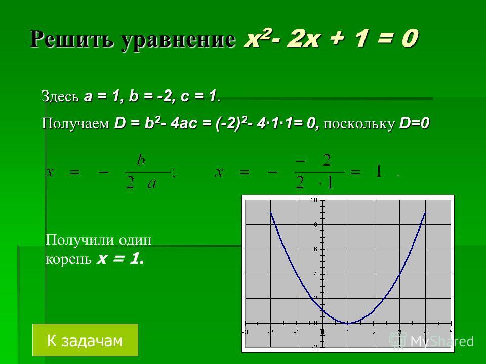Решить уравнение 2x 2 - 3x + 5 = 0 Здесь a = 2, b = -3, c = 5. Найдем дискриминант D = b 2 - 4ac= = (-3) 2 - 4·2·5 = -31, т.к. D < 0, то уравнение не имеет действительных корней. = (-3) 2 - 4·2·5 = -31, т.к. D < 0, то уравнение не имеет действительны