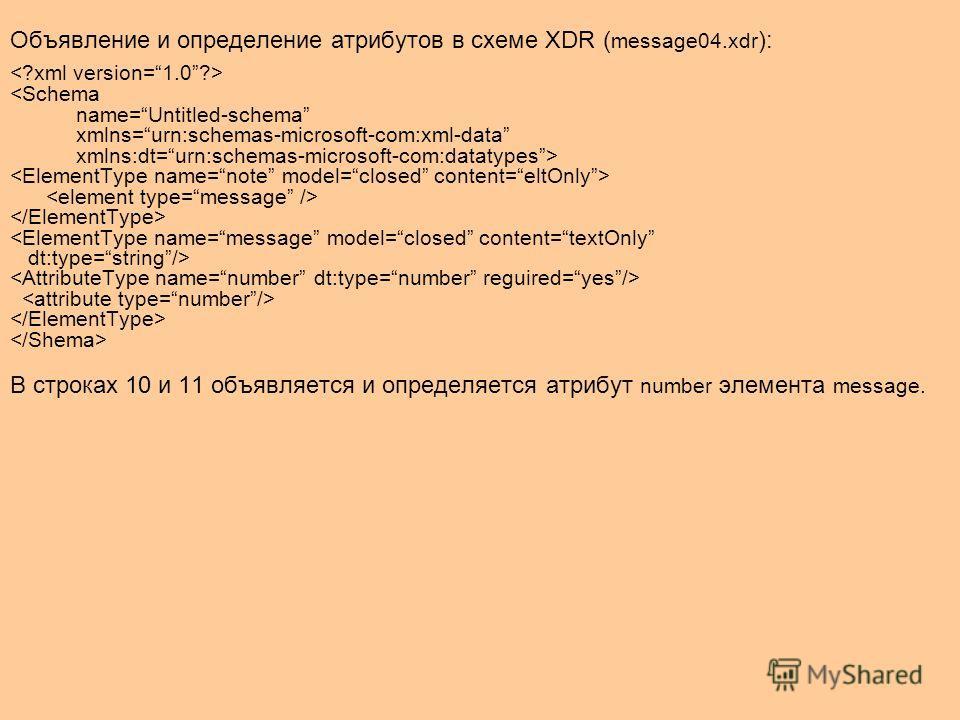 Объявление и определение атрибутов в схеме XDR ( message04. xdr ):   В строках 10 и 11 объявляется и определяется атрибут number элемента message.