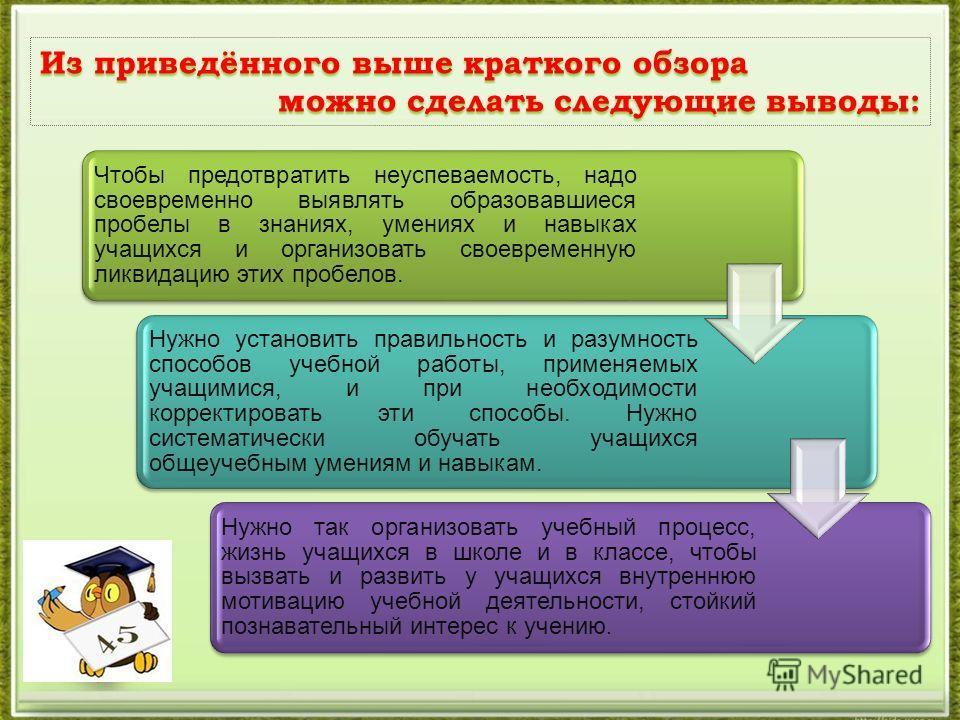 Из приведённого выше краткого обзора можно сделать следующие выводы: можно сделать следующие выводы: Чтобы предотвратить неуспеваемость, надо своевременно выявлять образовавшиеся пробелы в знаниях, умениях и навыках учащихся и организовать своевремен