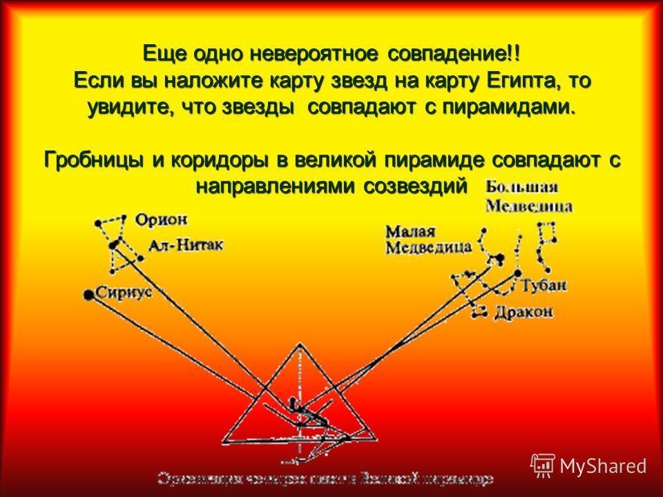 Еще одно невероятное совпадение!! Если вы наложите карту звезд на карту Египта, то увидите, что звезды совпадают с пирамидами. Гробницы и коридоры в великой пирамиде совпадают с направлениями созвездий