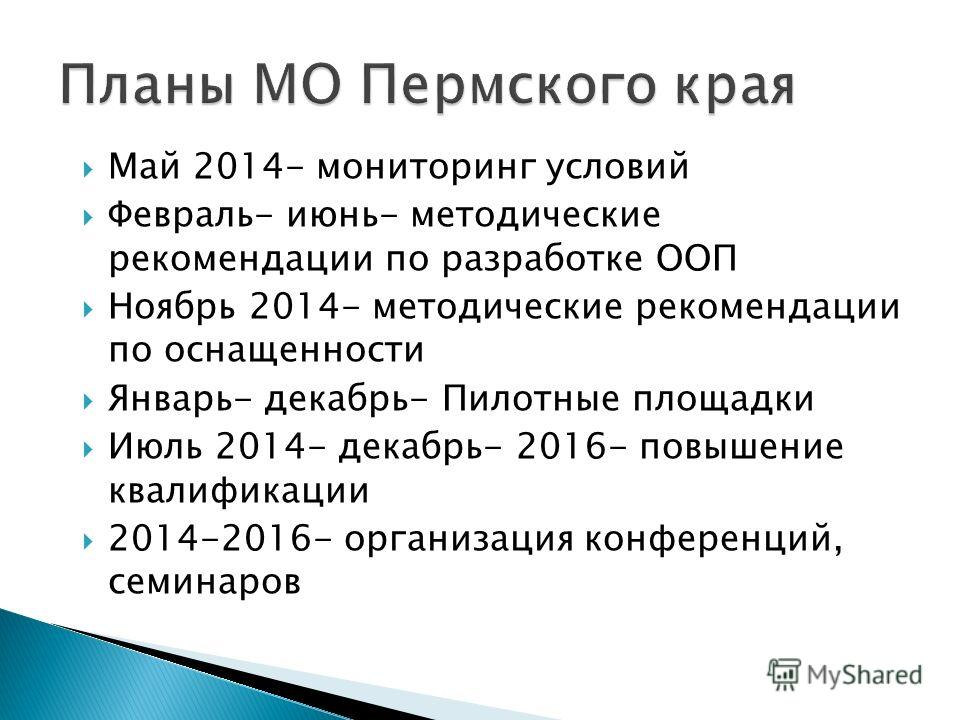 Май 2014- мониторинг условий Февраль- июнь- методические рекомендации по разработке ООП Ноябрь 2014- методические рекомендации по оснащенности Январь- декабрь- Пилотные площадки Июль 2014- декабрь- 2016- повышение квалификации 2014-2016- организация