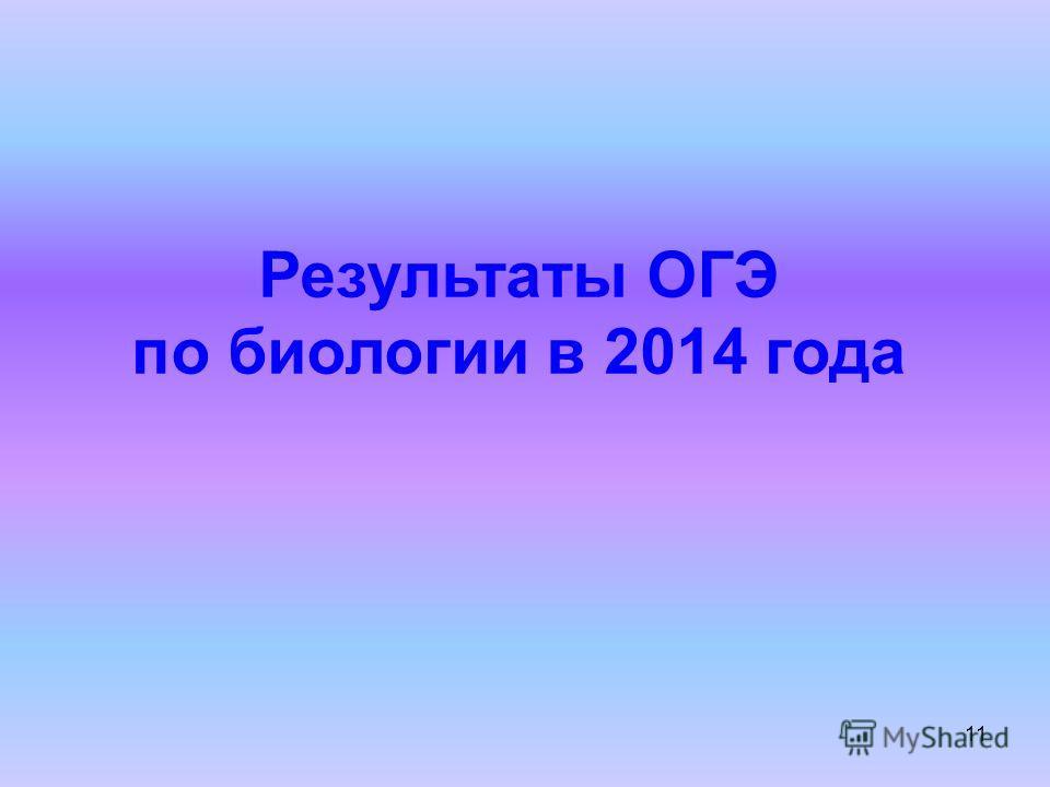 11 Результаты ОГЭ по биологии в 2014 года