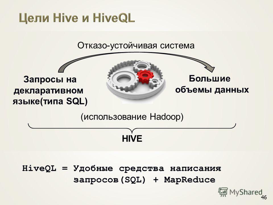 46 Запросы на декларативном языке(типа SQL) Большие объемы данных (использование Hadoop) HiveQL = Удобные средства написания запросов(SQL) + MapReduce HIVE Отказо-устойчивая система