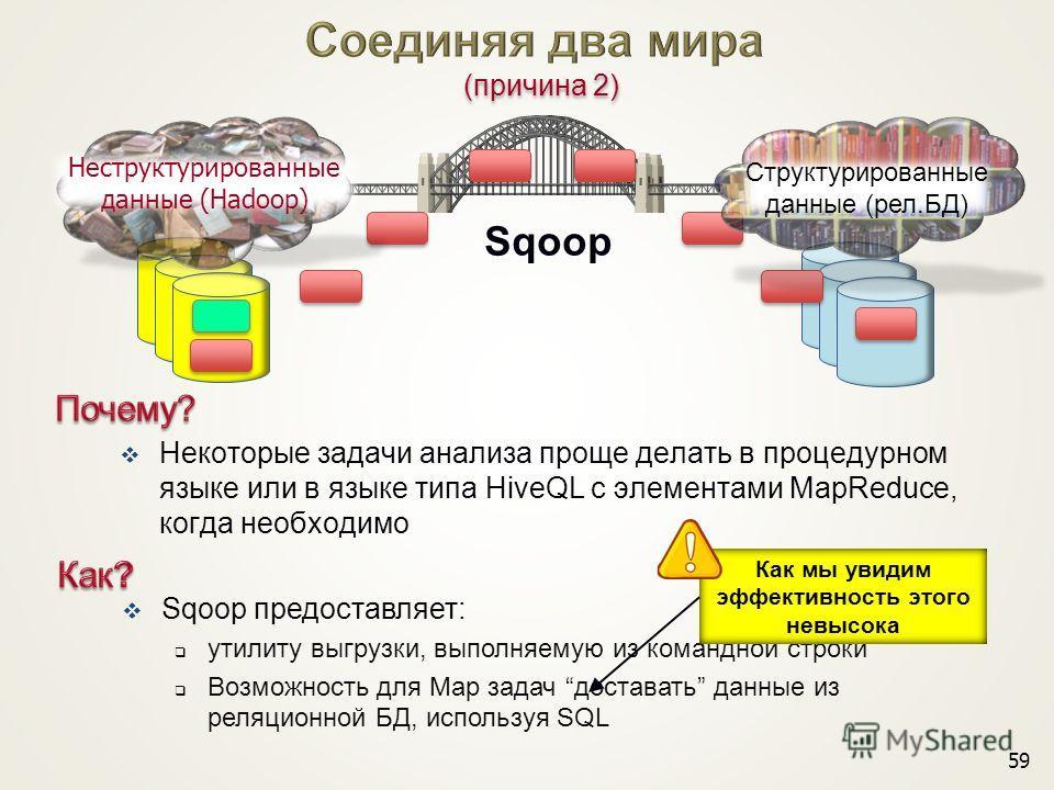 Некоторые задачи анализа проще делать в процедурном языке или в языке типа HiveQL с элементами MapReduce, когда необходимо 59 Sqoop предоставляет: утилиту выгрузки, выполняемую из командной строки Возможность для Map задач доставать данные из реляцио