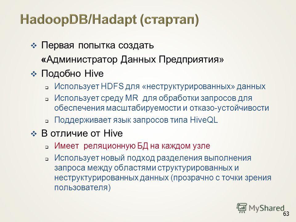 Первая попытка создать «Администратор Данных Предприятия» Подобно Hive Использует HDFS для «неструктурированных» данных Использует среду MR для образотки запросов для обеспечения масштабируемости и отказо-устойчивости Поддерживает язык запросов типа