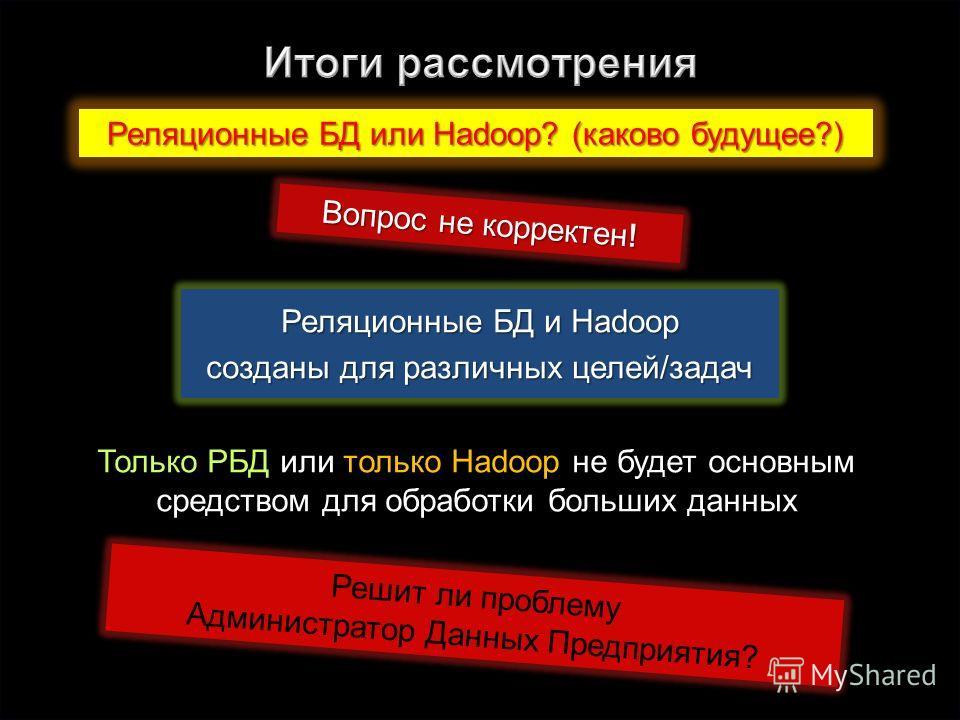 67 Реляционные БД или Hadoop? (каково будущее?) Вопрос не корректен! Реляционные БД и Hadoop созданы для различных целей/задач Только РБД или только Hadoop не будет основным средством для образотки больших данных Решит ли проблему Администратор Данны