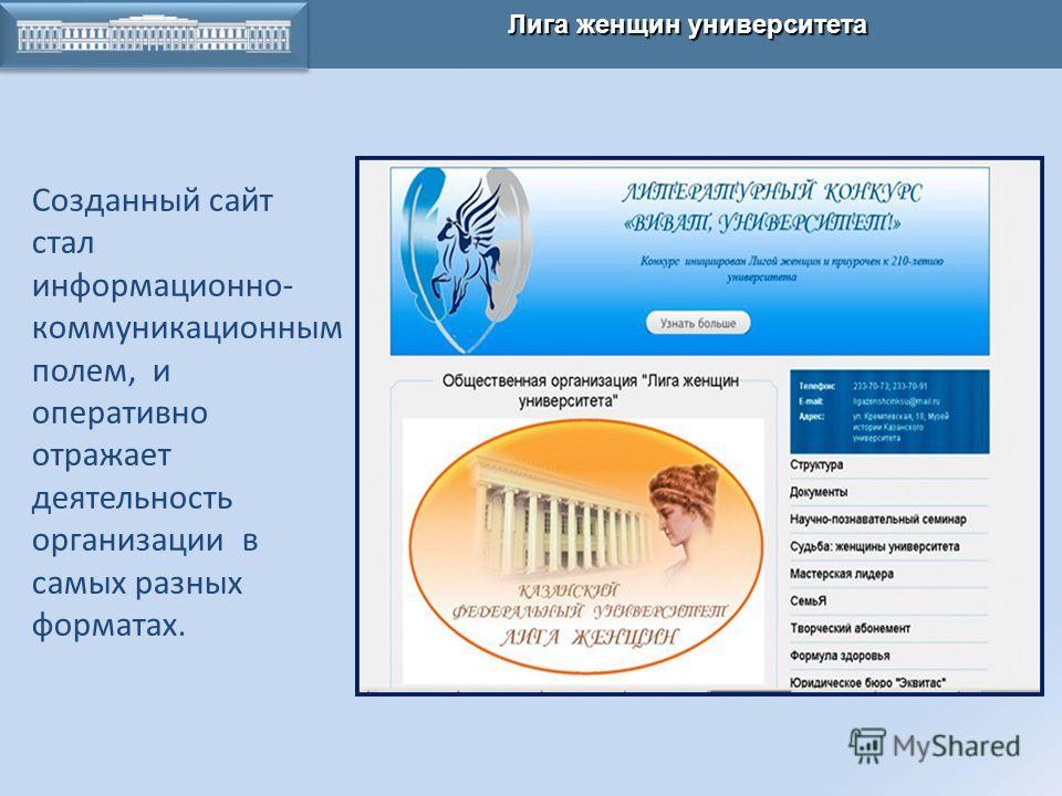 КАЗАНСКАЯ ХИМИЧЕСКАЯ ШКОЛА Лига женщин университета Созданный сайт стал информационно- коммуникационным полем, и оперативно отражает деятельность организации в самых разных форматах.