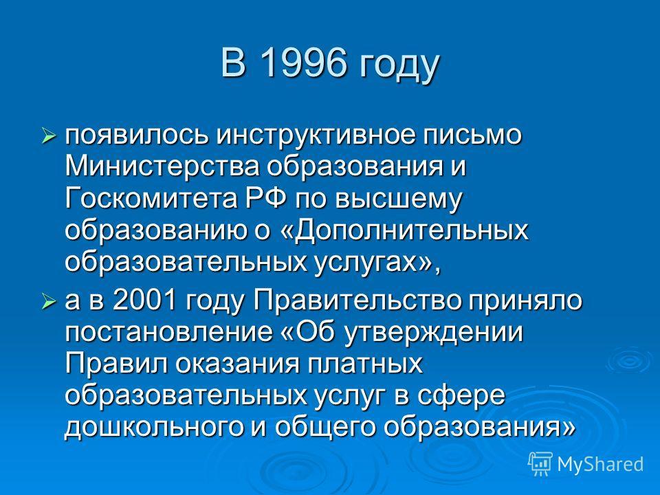 В 1996 году появилось инструктивное письмо Министерства образования и Госкомитета РФ по высшему образованию о «Дополнительных образовательных услугах», появилось инструктивное письмо Министерства образования и Госкомитета РФ по высшему образованию о