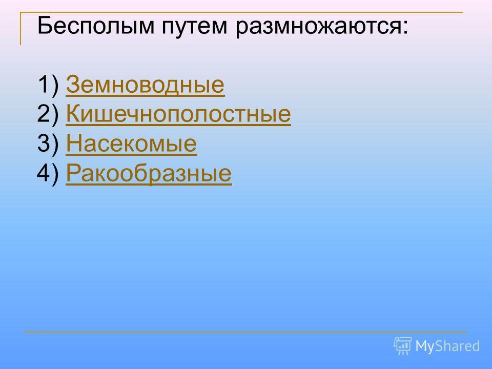 Бесполым путем размножаются: 1) Земноводные Земноводные 2) Кишечнополостные Кишечнополостные 3) Насекомые Насекомые 4) Ракообразные Ракообразные