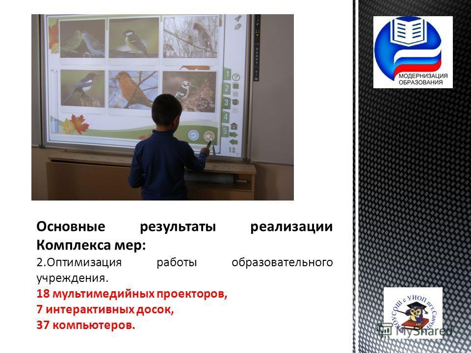 Основные результаты реализации Комплекса мер: 2. Оптимизация работы образовательного учреждения. 18 мультимедийных проекторов, 7 интерактивных досок, 37 компьютеров.