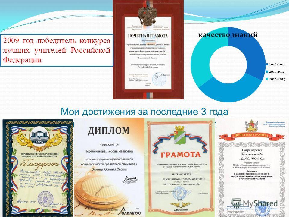 Мои заслуги и достижения за последний три года 2009 год победитель конкурса лучших учителей Российской Федерации Мои достижения за последние 3 года