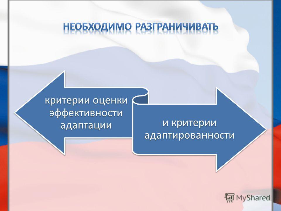критерии оценки эффективности адаптации и критерии адаптированности