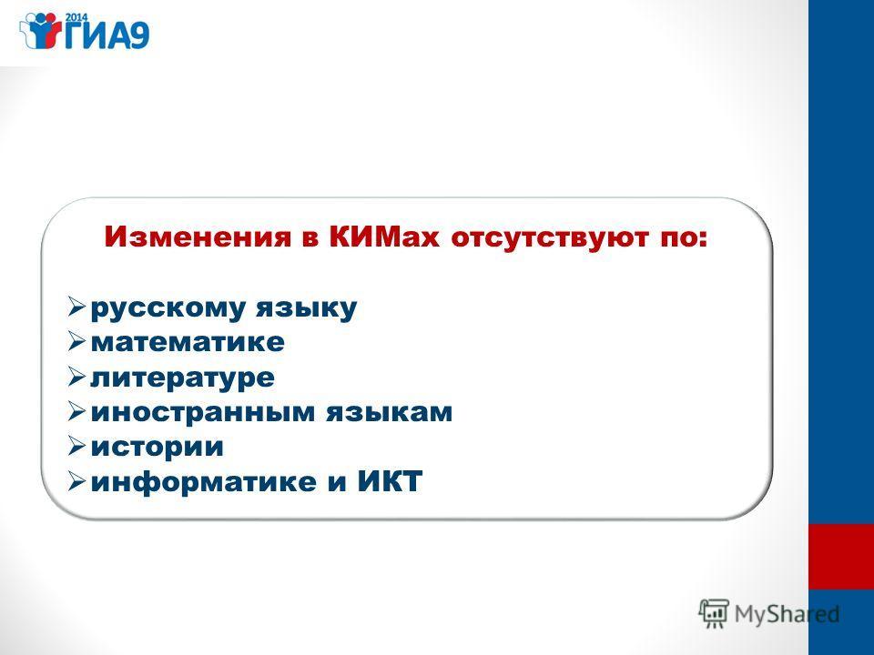 Изменения в КИМах отсутствуют по: русскому языку математике литературе иностранным языкам истории информатике и ИКТ