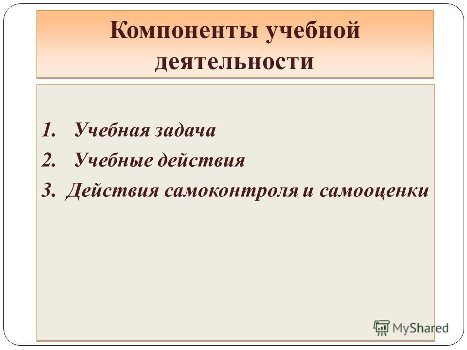 Компоненты учебной деятельности 1. Учебная задача 2. Учебные действия 3. Действия самоконтроля и самооценки 1. Учебная задача 2. Учебные действия 3. Действия самоконтроля и самооценки