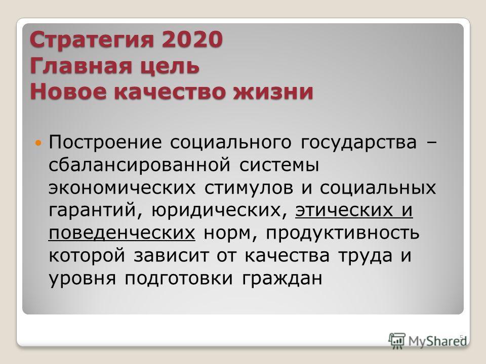 Стратегия 2020 Главная цель Новое качество жизни Построение социального государства – сбалансированной системы экономических стимулов и социальных гарантий, юридических, этических и поведенческих норм, продуктивность которой зависит от качества труда