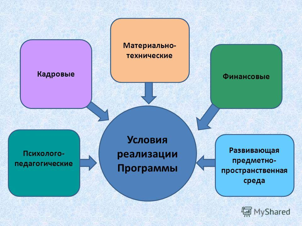 Условия реализации Программы Психолого- педагогические Развивающая предметно- пространственная среда Финансовые Материально- технические Кадровые