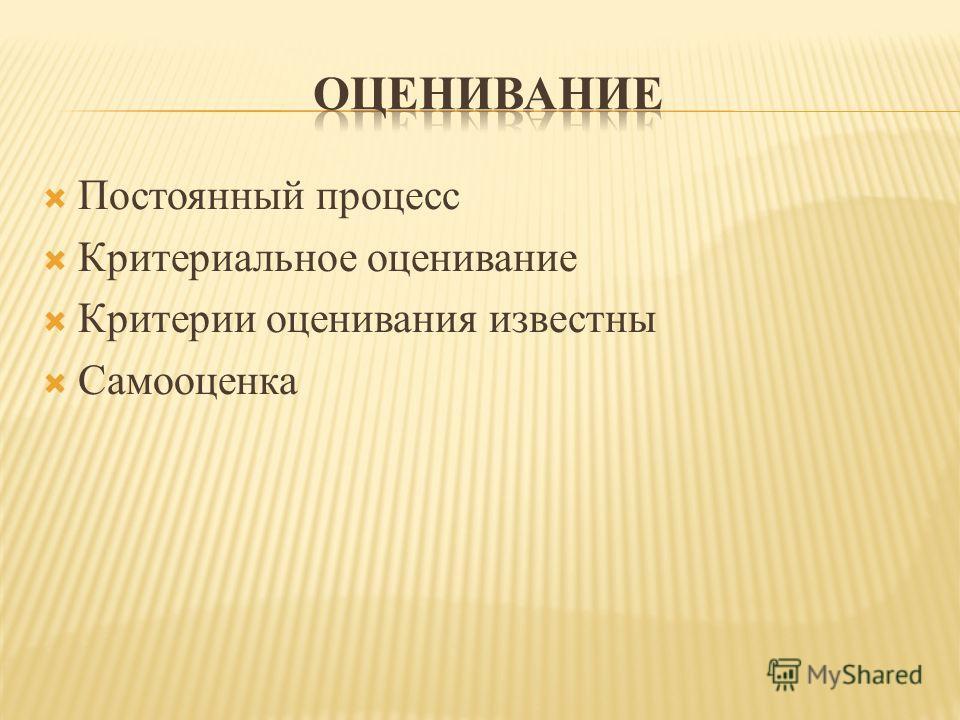 Постоянный процесс Критериальное оценивание Критерии оценивания известны Самооценка