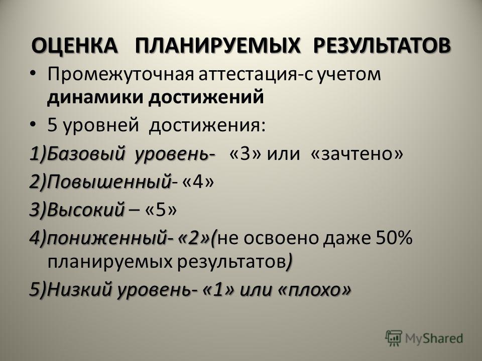 ОЦЕНКА ПЛАНИРУЕМЫХ РЕЗУЛЬТАТОВ Промежуточная аттестация-с учетом динамики достижений 5 уровней достижения: 1)Базовый уровень- 1)Базовый уровень- «3» или «зачтено» 2)Повышенный 2)Повышенный- «4» 3)Высокий 3)Высокий – «5» 4)пониженный- «2»( ) 4)понижен