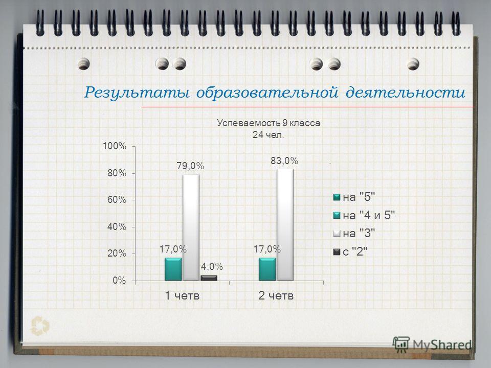 Результаты образовательной деятельности Успеваемость 9 класса 24 чел.