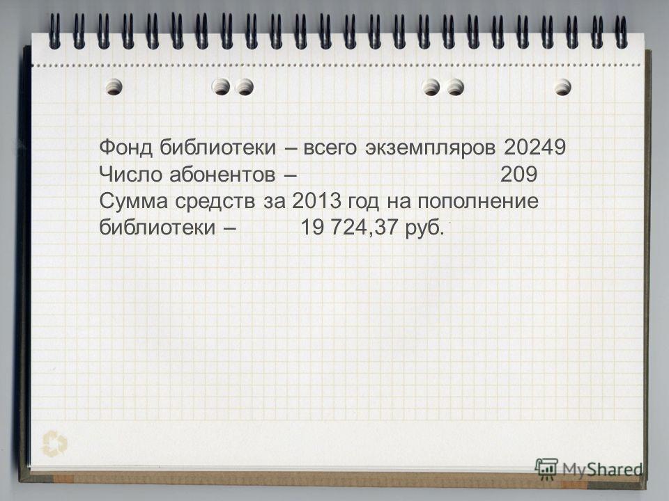 Фонд библиотеки – всего экземпляров 20249 Число абонентов – 209 Сумма средств за 2013 год на пополнение библиотеки – 19 724,37 руб.