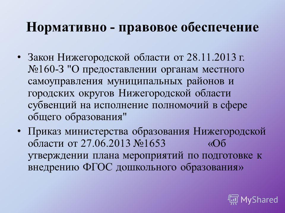 Нормативно - правовое обеспечение Закон Нижегородской области от 28.11.2013 г. 160-З
