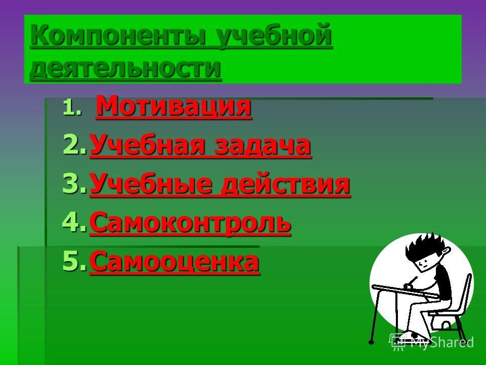Компоненты учебной деятельности 1. Мотивация 2. Учебная задача 3. Учебные действия 4. Самоконтроль 5.Самооценка