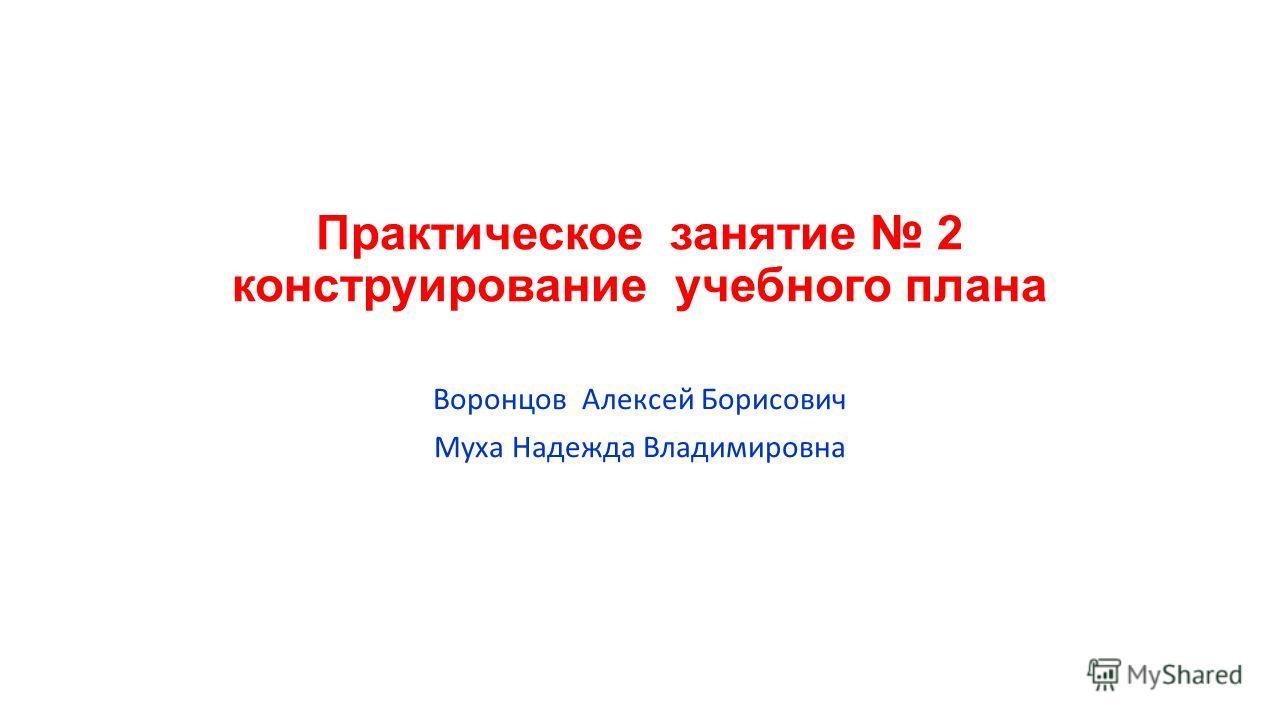 Практическое занятие 2 конструирование учебного плана Воронцов Алексей Борисович Муха Надежда Владимировна