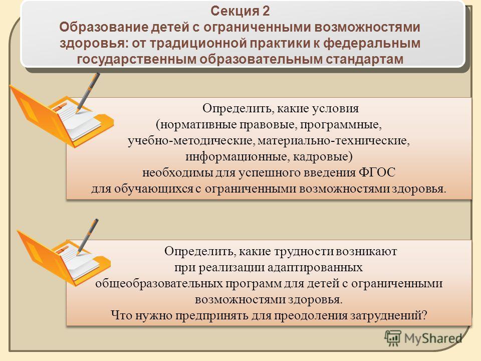 Секция 2 Образование детей с ограниченными возможностями здоровья: от традиционной практики к федеральным государственным образовательным стандартам Определить, какие условия (нормативные правовые, программные, учебно-методические, материально-технич