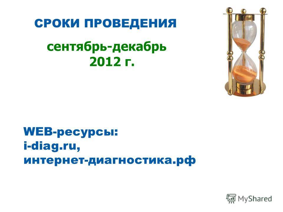 СРОКИ ПРОВЕДЕНИЯ сентябрь-декабрь 2012 г. WEB-ресурсы: i-diag.ru, интернет-диагностика.рф