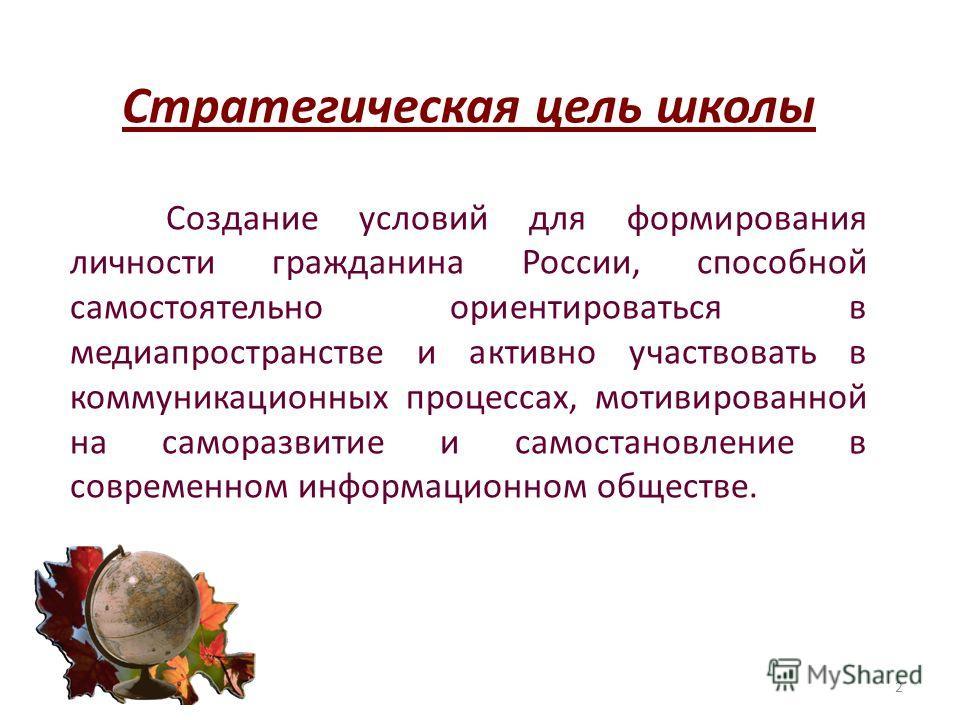 Стратегическая цель школы Создание условий для формирования личности гражданина России, способной самостоятельно ориентироваться в медиапространстве и активно участвовать в коммуникационных процессах, мотивированной на саморазвитие и самовосстановлен