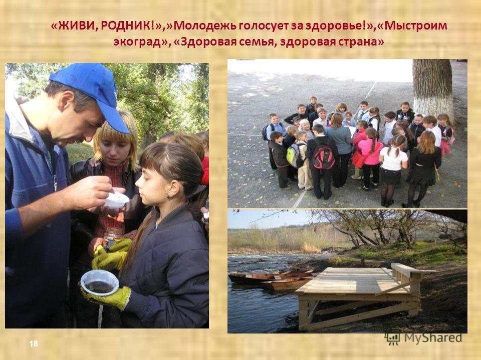 18 «ЖИВИ, РОДНИК!»,»Молодежь голосует за здоровье!»,«Мыстроим экоград», «Здоровая семья, здоровая страна»