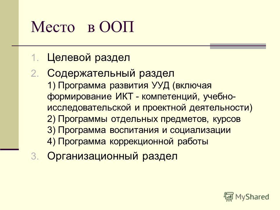 Место в ООП 1. Целевой раздел 2. Содержательный раздел 1) Программа развития УУД (включая формирование ИКТ - компетенций, учебно- исследовательской и проектной деятельности) 2) Программы отдельных предметов, курсов 3) Программа воспитания и социализа