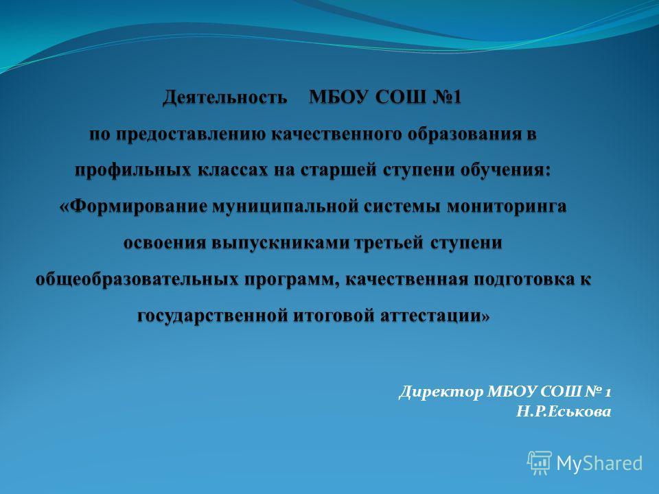 Директор МБОУ СОШ 1 Н.Р.Еськова