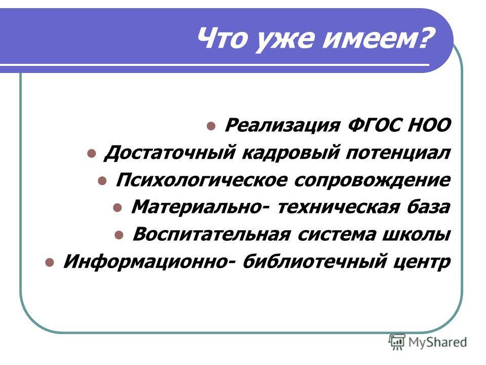 Что уже имеем? Реализация ФГОС НОО Достаточный кадровый потенциал Психологическое сопровождение Материально- техническая база Воспитательная система школы Информационно- библиотечный центр