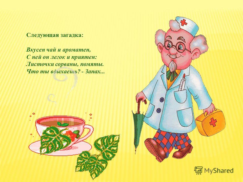 Следующая загадка: Вкусен чай и ароматен, С ней он легок и приятен: Листочки сорваны, помяты. Что ты вдыхаешь? - Запах...