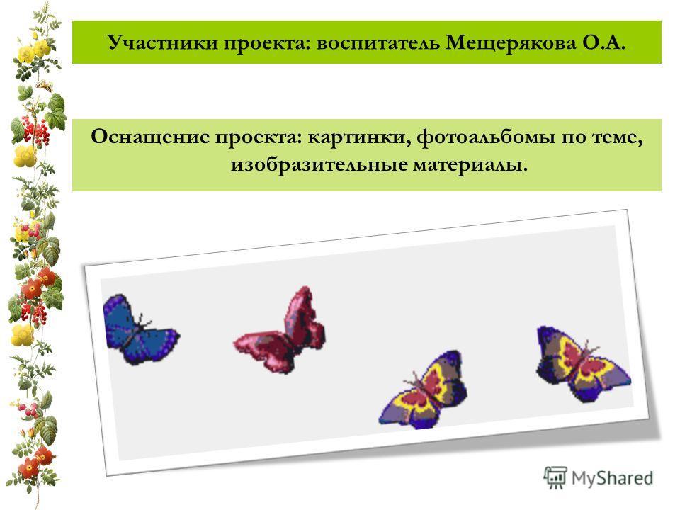 Участники проекта: воспитатель Мещерякова О.А. Оснащение проекта: картинки, фотоальбомы по теме, изобразительные материалы.