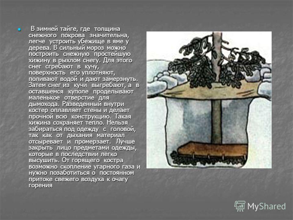 В зимней тайге, где толщина снежного покрова значительна, легче устроить убежище в яме у дерева. В сильный мороз можно построить снежную простейшую хижину в рыхлом снегу. Для этого снег сгребают в кучу, поверхность его уплотняют, поливают водой и даю